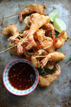 Fried Shrimp with Soy Chili Apricot Dipping Sauce | by Heather Christo, via Flickr