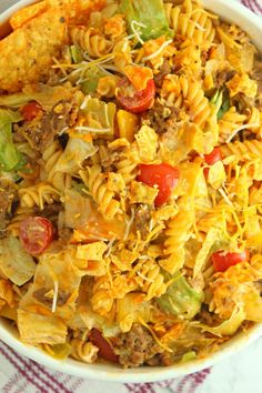 30 Best Delicious Pasta Salad Recipes For All Season – Page 2 – Healthy Food: Recipes, food and diet, weight loss Taco Salad Doritos, Taco Salad Recipes, Taco Salads, Mexican Food Recipes, Pasta Recipes, Dinner Recipes, Cooking Recipes, Ethnic Recipes, Taco Dip