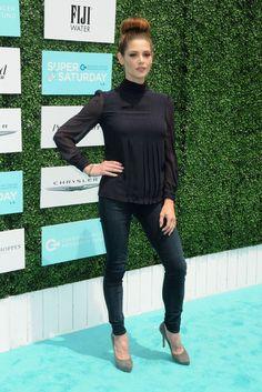 Ashley Greene sports stylish top knot at the 2015 OCRF Super Saturday in LA