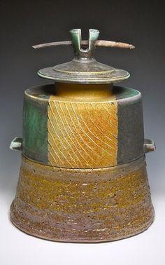 Ceramic Artist MICHAEL PONESS 2012 - Oval Jar-14H x 10W x 8D-stoneware