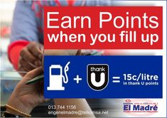 Swipe your Thank U Reward card at El Madré Motors Engen garage and earn 150 points per liter of fuel. You can use your points at any of our stores.  Start earning today! Contact us for more information engenelmadre@telkomsa.net #engenelmadre #urewards #ucount Filling Station, Thank U, Your Cards, How To Get, Motors, Garage, Jet, Shop, Beauty