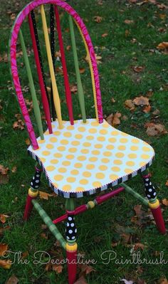 Painted chair from The Decorative Paintbrush Art Furniture, Funky Furniture, Colorful Furniture, Repurposed Furniture, Furniture Makeover, Decoupage Furniture, Refurbished Furniture, Furniture Design, Chair Design