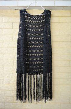 Black Long Fringed Crochet Vest Festival Top by TinaCrochet2016