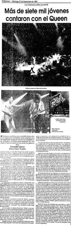 Más de siete mil jóvenes cantaron con el Queen.  Publicado el 27 de septiembre de 1981.