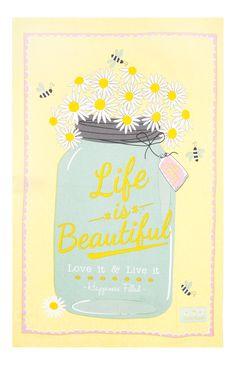 "Primark - Paño de cocina ""Life is Beautiful"""