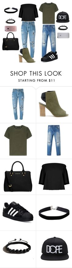 """""""Matching with my boyfriend"""" by mavi-carrasquilla on Polyvore featuring Levi's, Sole Society, Calvin Klein Collection, MICHAEL Michael Kors, TIBI, adidas, Miss Selfridge, Shamballa Jewels, Forever 21 and Native Union"""