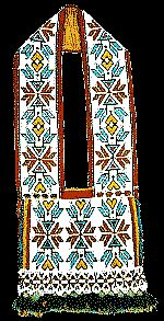Ho-Chunk (Winnebago) are credited with this loom-beaded bandolier, dated 1885 by Morningstar Gallery. They lived in the Great Lakes Woodland area (until some were forced out to a Nebraska reservation) but are a Siouan-speaking people, not Algonquian. They probably learned of the bandoliers as honor and friendship gifts.