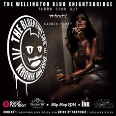 DR INK TEAMS UP WITH HIP HOP LDN TO BRING YOU 'THE BLUEPRINT' LABEL  PRESENTING OUR NIGHT KRONIK AND KOKE WHERE ANYTHING GOES  EACH THURSDAY AT THE WELLINGTON    #theblueprint #tattoo #ink #inked #dr_ink #hiphopbrunch #avantgarde #grunge #tattoomodel #sexdrugsandhiphop #inkgirl #luxurylife #style #LondonClub #swag #hatlife #beardlife #altmodel #thewellington #tatted-up #kronicandkoke #classichiphop #hiphop #TagsForLikes #followme #membersclub #hedonism #punk #biker
