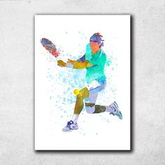 Rafael Nadal Poster, Tennis Gifts, Rafa Fan Art, Nadal Wall Art, Tennis Print, Home Decor (N035) by PointDot on Etsy