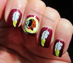creative Redskins themed nails