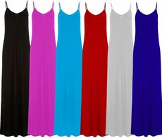 New Ladies Plus Spagheti Strap Jersey Summer Maxi Dress 8-22