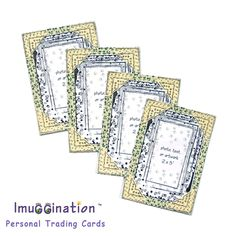 Customizable Imuggination Trading Cards. Frame your 2x3 inch print wallet size mom & son picture, shiny new penny, lucky 4 leaf clover or kids heart artwork. Use your Imuggination ! Charming handmade add-in for Mother's Day gift basket. I design & handcraft personalizable art niceties with fabric, cardstock, unique photo corners, stitching & original art motifs. Adorable grandparents personal keepsake. Unusual baseball anniversary present. Cute birthday party favor. Shamrock Leaf…