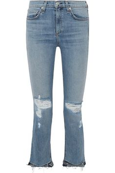 rag & bone - Distressed Mid-rise Straight-leg Jeans - Blue