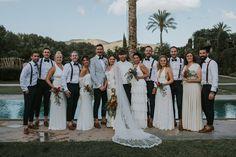 stylish hipster groomsmen bridesmaids in white /    ibiza wedding atzaro destination wedding    / maureen du preez (www.maureendupreez.com)