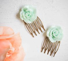 Mint Green FLOWER Hair Combs Spring Wedding by redtruckdesigns