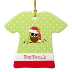 Best Friends Cute Christmas Owl  Sweater Ornament