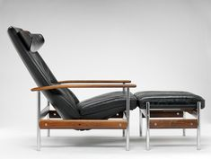 Sven Ivar Dysthe; #1001 Chromed Steel and Rosewood Reclining Armchair for Dokka, 1961.