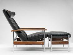 Sven Ivar Dysthe; #1001 Chromed Steel and Rosewood Reclining Armchair for Dokka, 1961.