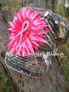 Camo hat w/breast cancer rhinestones $15.00