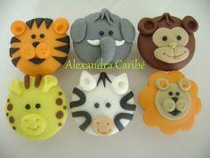 Cupcake bichinhos de selva - Jungle cupcakes (animals)