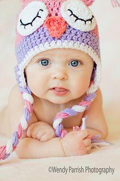 Owl hat crochet pink owl hat sleepy owl hat by MRocheCrochet Crochet Owl Hat, Knitted Owl, Knitted Hats, Knit Crochet, Booties Crochet, Foto Baby, Pink Owl, Pink Purple, Baby Owls