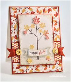 Could see using the Tree of Friendship to make this card SU style Happy Fall Stamps: Falling Leaves Papers: Autumn Abundance Cardstock: Terracotta Tile, Rustic Cream Ink: Dark Chocolate, Terracotta Tile, Orange Zest, Summer Sun; Chamomile Distress Ink Accessories: Vintage Buttons, Terracotta Tile Grosgrain Tools: Sewing Machine