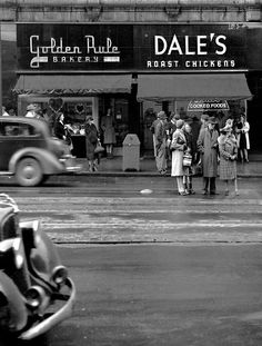 A Granville Street street scene by Jack Lindsey. Vancouver, British Columbia, 1940s. #vintage #Canada #1940s #streets