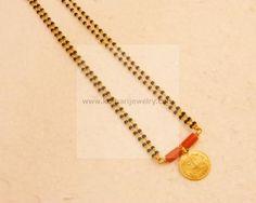 Gold Mangalsutra - 22Kt Gold Black beads Pearl Mangalsutra, 22Kt Gold Thali…