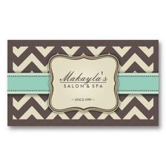 Elegant Chevron Modern Brown, Green and Beige Business Cards #vintage #classic #retro #classy #elegant #stylish #business #card #template #businesscards #profile #office #popular #unique