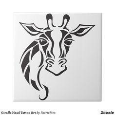 Giraffe Head Tattoo Art Small Square Tile