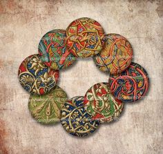 Medieval Circles One 1 Inch Rounds Scrolls Illuminations for Jewelry Magnets Buttons Inchies and Decoupage Papers 534 by memoriesemporium on Etsy https://www.etsy.com/listing/181570705/medieval-circles-one-1-inch-rounds