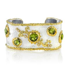 Victor Velyan ~  24K Gold and Silver Bracelet in White Patina with Peridot and Diamond