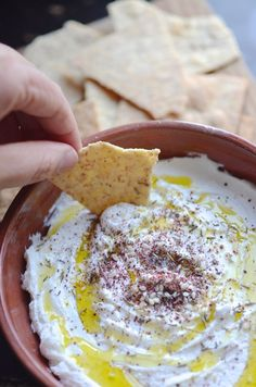 Homemade Labneh — this creamy dip is made with Greek yogurt