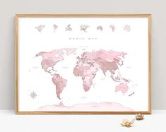 WORLD MAP DOWNLOAD World Map Wall Art Color World Map Print