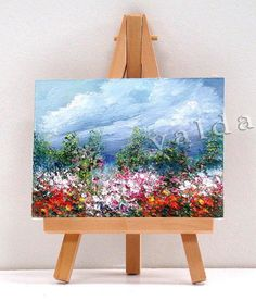 Summer Clouds and Flowers 3x4 miniature painting by valdasfineart