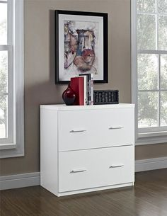 Amazon.com : Lateral File Cabinet Filling Organizer with 2 Storage Drawers (White) : Office Products
