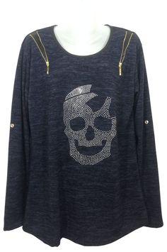 Damen T-Shirt Langarm mit Totenkopf aus Nieten, Onesize/geeignet bis Grösse 44