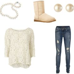 A fashion look from December 2012 featuring VILA tops, SuperTrash jeans and UGG Australia ankle booties. Browse and shop related looks.
