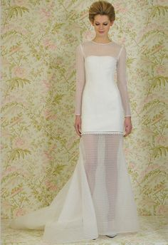 This mod hair and geometric patterned overlay is a blast from the past... and we love it! Angel Sanchez Spring 2015 | The Knot Blog