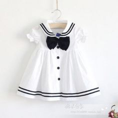 Summer girl white dress sailor navy collar 100% cotton one-piece baby girl dress toddler dress for 1 to 6T girls US $12.86