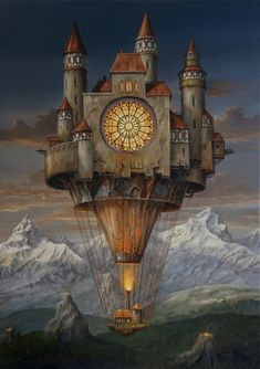 Alpine Fortress. Oil Paintings of Flying Machines and Architectural Surrealism. By Jarosław Jaśnikowski.