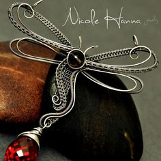 Wire Wrapped Dragonfly Pendant, Smokey Quartz and Red CZ