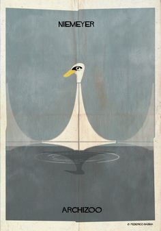 "Image 12 of 27 from gallery of ARCHIZOO: Illustrated Architectural ""Animals"" from Federico Babina. Photograph by Federico Babina Oscar Niemeyer, Ancient Greek Architecture, Chinese Architecture, Futuristic Architecture, Great Buildings And Structures, Poster Prints, Art Prints, Cool Posters, Urban Art"