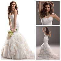 New Sweetheart pleat Wedding Dresses of Mermaid lace up /Bridal Gown /Bridal Dress Custom Made2014