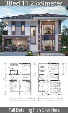 House design plan with 3 bedrooms – Home Ideas Haus Design Plan mit 3 Schlafzimmern – Home Design with Plan 2 Storey House Design, Simple House Design, Bungalow House Design, House Front Design, Modern House Design, Sims House Plans, House Layout Plans, Dream House Plans, House Layouts