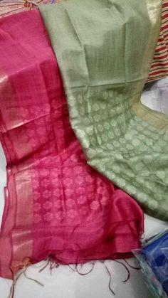 Pure Lenin silk sares Order what's app 7995736811 Cotton Saree Designs, Saree Blouse Neck Designs, Kora Silk Sarees, Handloom Saree, Saree Jewellery, Simple Sarees, Embroidery Saree, Blue Saree, Elegant Saree