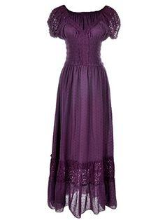 Anna-Kaci Purple Small Size Smocked Waist Summer Maxi Dre...