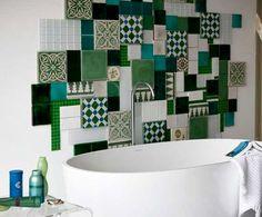scegliere i rivestimenti per il bagno - piastrelle in ceramica verde tipo azulejos