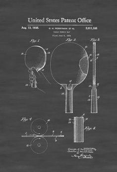 Ping Pong Paddle Patent 1935 - Patent Prints Wall Decor Tennis Table Bat Ping Pong Sports Wall Art Basement Decor by PatentsAsPrints