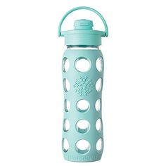 Lifefactory 22-Ounce BPA-Free Glass Water Bottle with Fli...